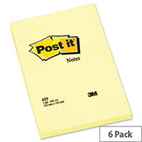 Post-it Notes Large Plain Pad of 100 Sheets 102x152mm Canary Yellow Pack 6