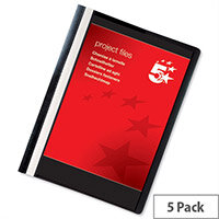 Flat File with Indexing Strip A4 Black Pack 5 5 Star Office