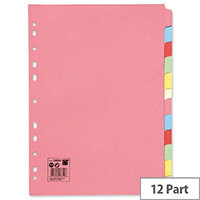 12-Part Subject Dividers A4 Multipunched Recycled Assorted 5 Star