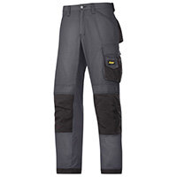 "Snickers 3313 Craftsman Trousers Rip-Stop Steel Grey/Black Waist 44"" Inside leg 32"" Size 60"