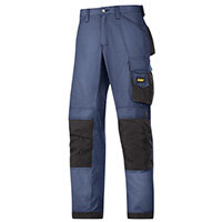 """Snickers 3313 Craftsman Trousers Rip-Stop Navy/Black Waist 41"""" Inside leg 32"""" Size 58"""