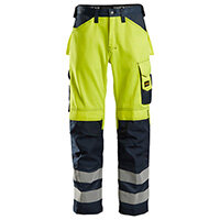 Snickers 3333 High-Visibility Trousers Class 2 Size 144 (W30xL35inch) High Vis Yellow & Navy