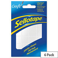 Sellotape Double Sided Sticky Foam Sticky Fixers 12 x 25mm 140 Pads Pack 6