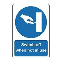 Safety Sign 100x75mm Switch Off When Not In Use Self-Adhesive