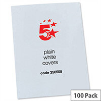 Binding Covers 250gsm Plain A4 Gloss White Pack 50x2 5 Star