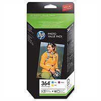 HP 364 3 Colour Value Pack Ink Cartridges With Photo Paper CH082EE