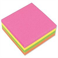 Sticky Notes Cube Pad of 400 Sheets 76x76mm Neon Rainbow 5 Star
