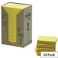 Post-it Note Recycled Tower Pack 38 x 51mm Yellow 653-1T