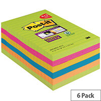 Post-it Super Sticky Notes XXL Rainbow 101 x 152mm 90 Sheets Pack of 6 4690-SSUC-P4+2