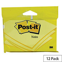 Post-it 76x127mm Canary Yellow Notes 6830Y Pack of 12