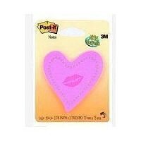 3M Post-it Note Heart with Lips Neon Pink 6370-HTL