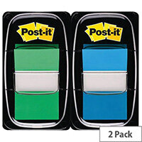 3M Post-it Index 1in 25mm 2 Pack Green/Blue 680-GB2 Pack 100