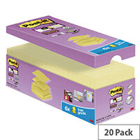 Post-it Super Sticky Z Notes 76 x 76mm Canary Yellow Value Pack R330-SSCY-VP20