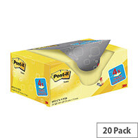 Post-it Notes 38 x 51mm Canary Yellow Value Pack of 20 653CY-VP20