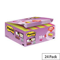 Post-it Super Sticky Notes 47.6 x 47.6mm Assorted Pack of 18 + 6 Free 622- P24SSCOL