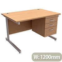Rectangular Office Desk With Fixed 3-Drawer Pedestal Silver Legs W1200mm Beech Ashford – Cantilever Desk & Extra Storage , 25 Year Warranty