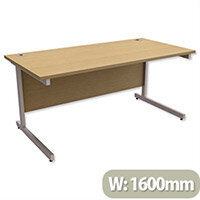Office Desk Rectangular Silver Legs W1600mm Urban Oak Ashford