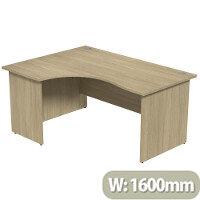 Radial Office Desk Panelled Left Hand W1600xD1200xH725mm Urban Oak Ashford