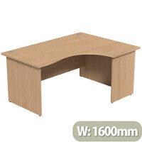 Radial Office Desk Panelled Right Hand W1600xD1200xH725mm Beech Ashford