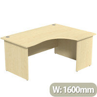 Radial Office Desk Panelled Right Hand W1600xD1200xH725mm Maple Ashford
