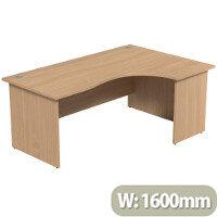 Radial Office Desk Panelled Right Hand W1600xD1200xH725mm Urban Oak Ashford