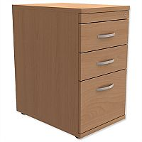 Filing Pedestal Desk-High 3-Drawer 600mm Deep Beech  - Universal Storage Can Be Used Alone Or Accompany The Switch, Komo or Ashford Ranges