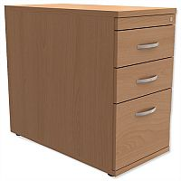 Filing Pedestal Desk-High 3-Drawer 800mm Deep Beech  - Universal Storage Can Be Used Alone Or Accompany The Switch, Komo or Ashford Ranges