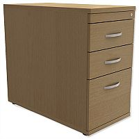 Filing Pedestal Desk-High 3-Drawer 800mm Deep Urban Oak  - Universal Storage Can Be Used Alone Or Accompany The Switch, Komo or Ashford Ranges