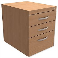Fixed Pedestal for Cantilever Desk 3-Drawer Beech  - Universal Storage Can Be Used Alone Or Accompany The Switch, Komo or Ashford Ranges