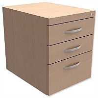 Fixed Pedestal for Cantilever Desk 3-Drawer Maple  - Universal Storage Can Be Used Alone Or Accompany The Switch, Komo or Ashford Ranges