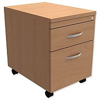 Mobile Filing Pedestal 2-Drawer Beech  - Universal Storage Can Be Used Alone Or Accompany The Switch, Komo or Ashford Ranges