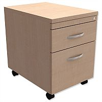 Mobile Filing Pedestal 2-Drawer Maple  - Universal Storage Can Be Used Alone Or Accompany The Switch, Komo or Ashford Ranges