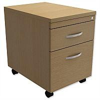 Mobile Filing Pedestal 2-Drawer Urban Oak  - Universal Storage Can Be Used Alone Or Accompany The Switch, Komo or Ashford Ranges