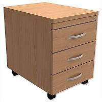 Mobile 3-Drawer Pedestal Beech  - Universal Storage Can Be Used Alone Or Accompany The Switch, Komo or Ashford Ranges