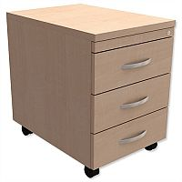 Mobile 3-Drawer Pedestal Maple  - Universal Storage Can Be Used Alone Or Accompany The Switch, Komo or Ashford Ranges