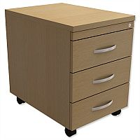 Mobile 3-Drawer Pedestal Urban Oak  - Universal Storage Can Be Used Alone Or Accompany The Switch, Komo or Ashford Ranges