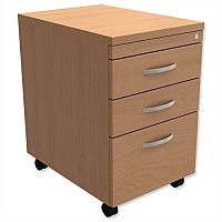 Filing Pedestal Mobile Tall Under-Desk 3-Drawer Beech  - Universal Storage Can Be Used Alone Or Accompany The Switch, Komo or Ashford Ranges