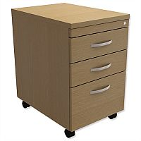 Filing Pedestal Mobile Tall Under-Desk 3-Drawer Urban Oak  - Universal Storage Can Be Used Alone Or Accompany The Switch, Komo or Ashford Ranges