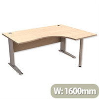 Cantilever Radial Office Desk Right Hand W1600xD1200xH725mm Maple Komo