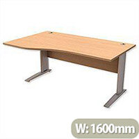 Komo Cantilever Wave Office Desk Left Hand W1600xD1000-800xH725mm Beech
