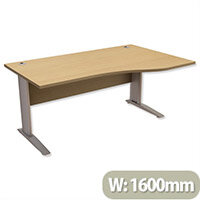 Komo Cantilever Wave Office Desk Right Hand W1600xD1000-800xH725mm Oak