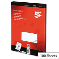 5 Star Address Labels 63.5x46.6mm White (1800 Labels)
