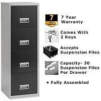 Pierre Henry A4 4 Drawer Steel Filing Cabinet Lockable Silver/Black