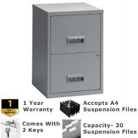 Pierre Henry A4 2 Drawer Steel Filing Combi Cabinet  Lockable Grey  - For A4 Suspension Filing & Stationery Storage - WxHxD: 400mm x 660mm x 400mm