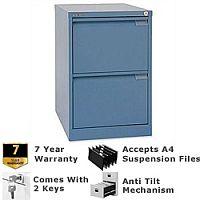 2 Drawer Steel Filing Cabinet Flush Front Doulton Blue Bisley BS2E