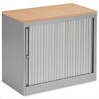 Bisley Silver Desk High Tambour Cupboard Silver Shutters Oak Top Height 720mm