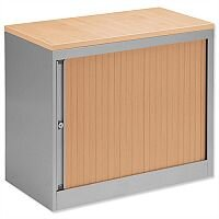 Bisley Silver Desk High Tambour Cupboard With Beech Shutters and Top Height 720mm