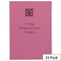 Cut Flush Folder A4 Polypropylene Red Pack 25 5 Star