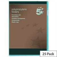 Cut Flush Folder A4 Polypropylene Green Pack 25 5 Star