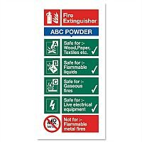 Stewart Superior Sign ABC Dry Powder Fire Extinguisher W100xH200mm Self-adhesive Vinyl